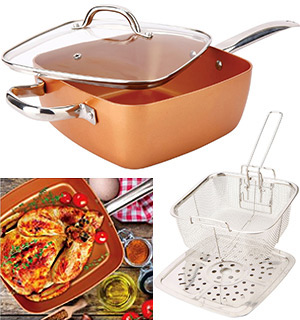 4pc square copper cookware pan set