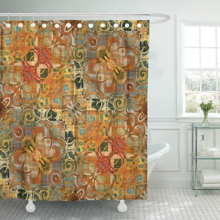 PKNMT Ornamental Vintage Pattern in Orange Old Gold and Grey Polyester Shower Curtain 60x72 inches ()
