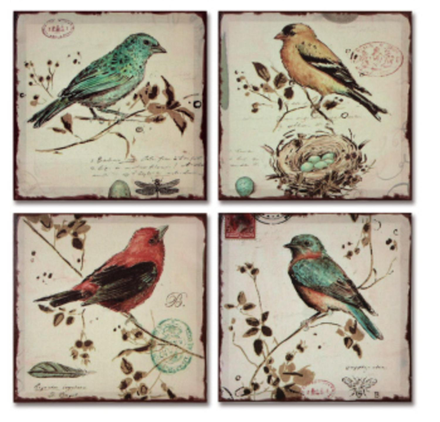 Pack of 4 Multi-Colored Bird Canvas Wall Hangings Wall Art Decor 10""