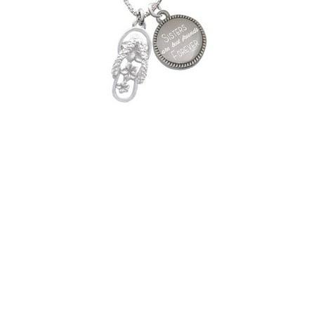 Plumeria Flower Necklace (Silvertone White Open Plumeria Flower Flip Flop Sisters Are Best Friends Forever Engraved)