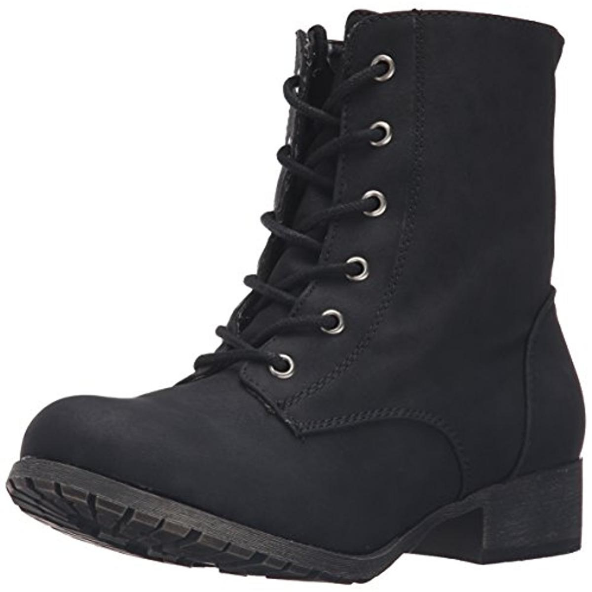 Jellypop Womens Freddy Faux Leather Distressed Combat Boots
