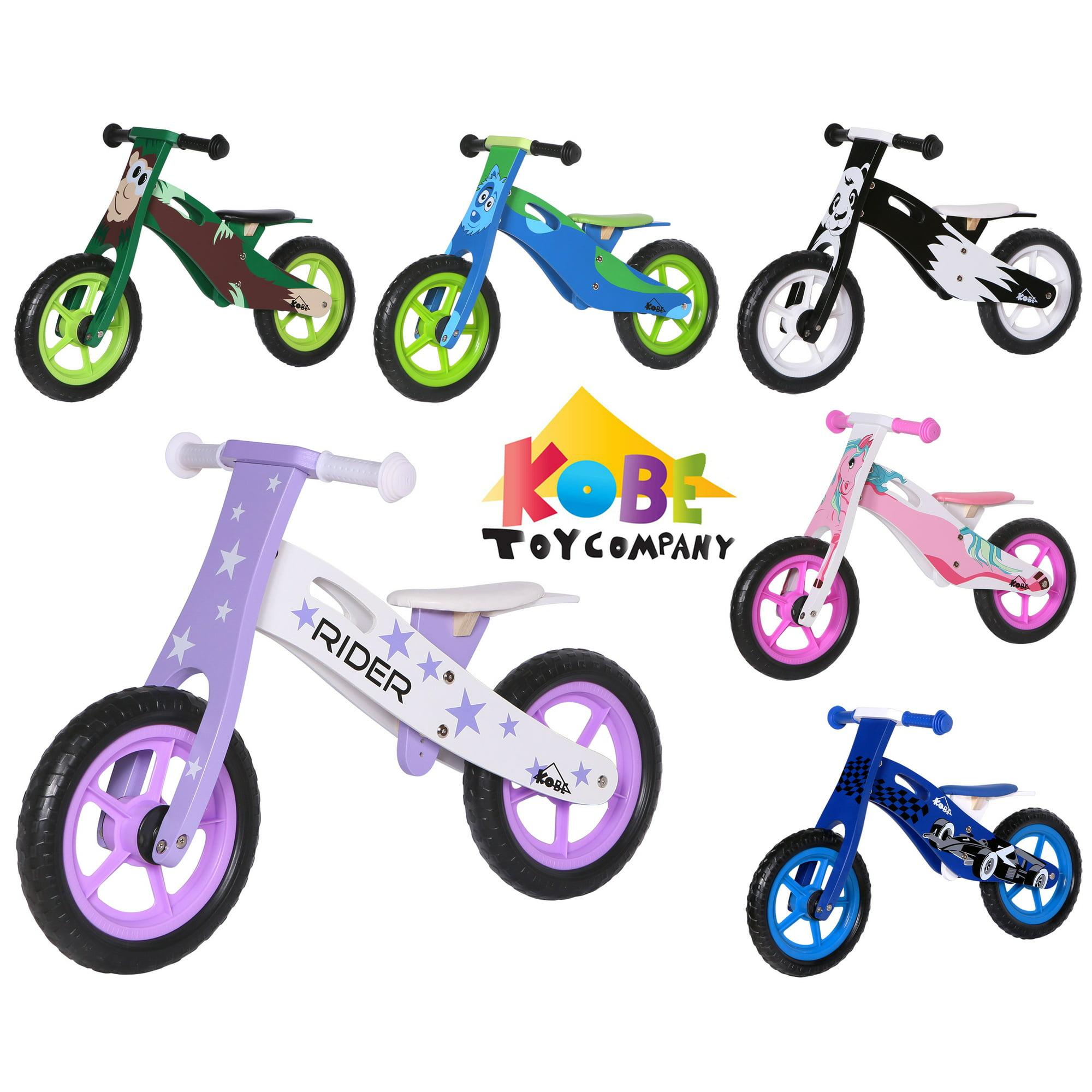 Kobe Wooden Balance Running Bike Birch Wood No Pedals Perfect Training Bike For Toddlers Kids Stars