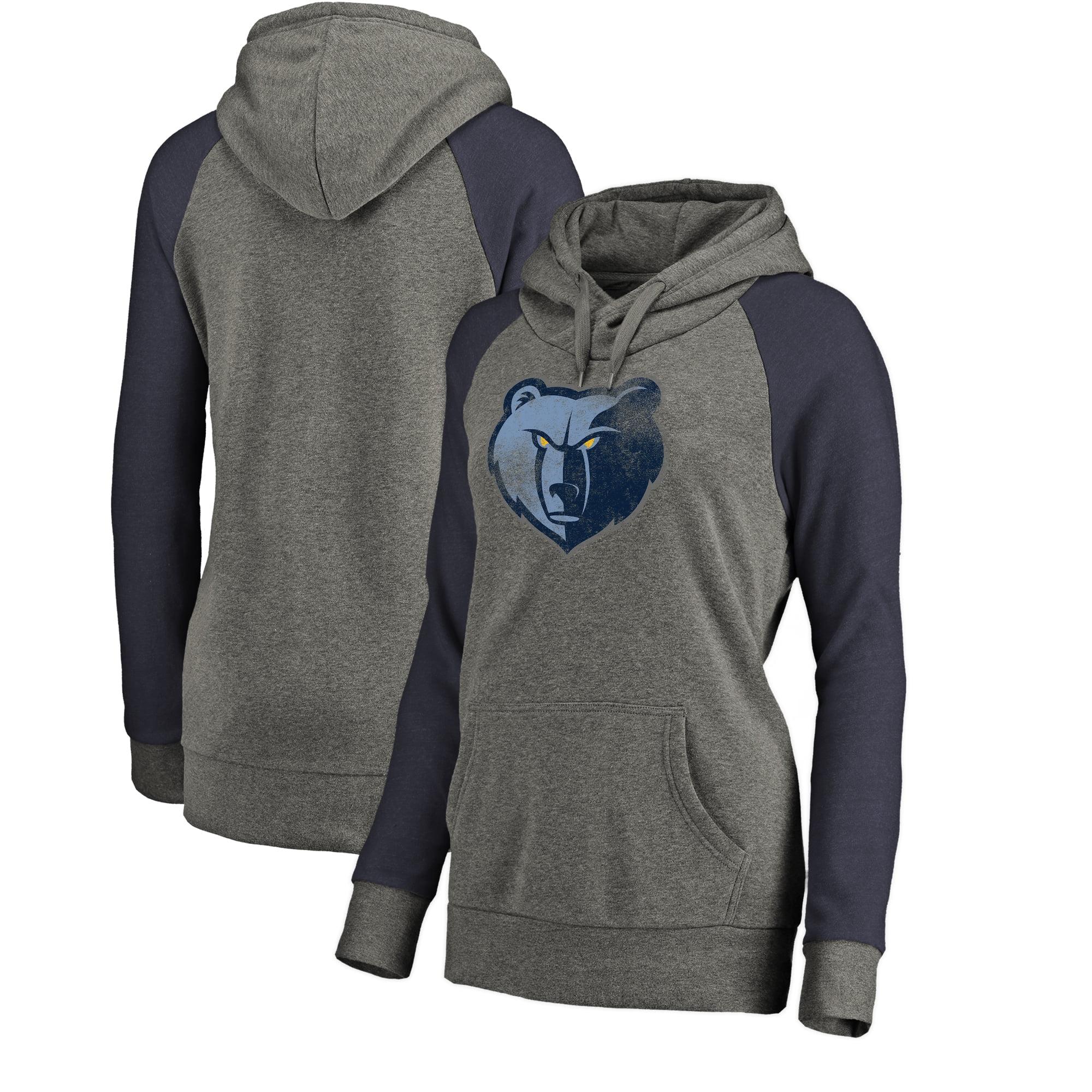 Memphis Grizzlies Fanatics Branded Women's Distressed Logo Tri-Blend Pullover Hoodie - Ash/Navy