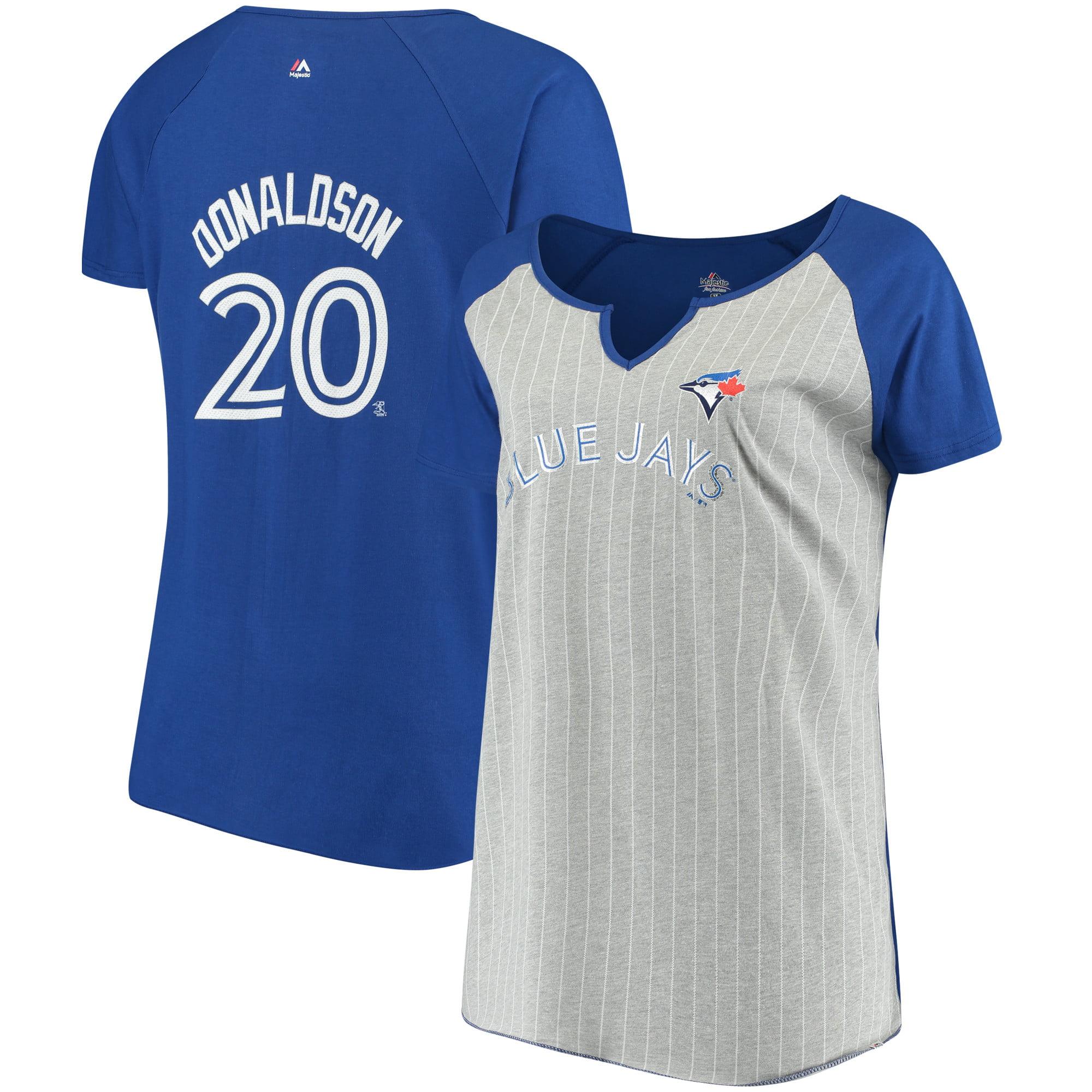 Josh Donaldson Toronto Blue Jays Majestic Women's Plus Size Pinstripe Player T-Shirt - Gray/Royal
