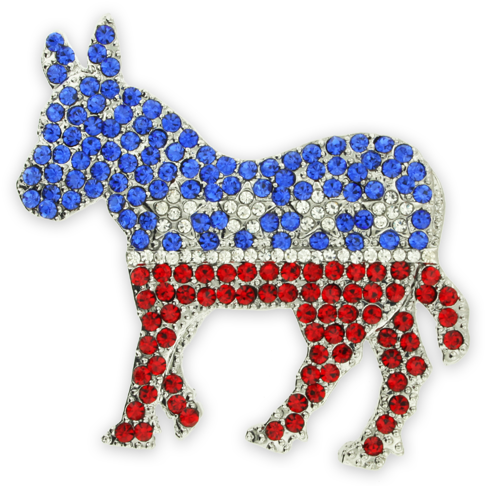 PinMart's Rhinestone Democrat Party Donkey Political Brooch Lapel Pin by PinMart