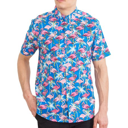 Hawaiian Shirt For Mens | Short Sleeve Button Up Down Tropical Aloha Shirts Pink Flamingo L - Tropical Shirts