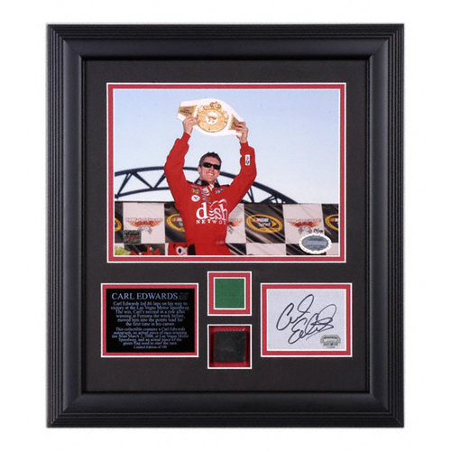 Carl Edwards - UAW-Dodge 400 - Autographed Framed Collectible with Race Winning Tire Piece
