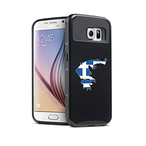 For Samsung Galaxy S7 Shockproof Impact Hard Soft Case Cover Greece Greek (Black)