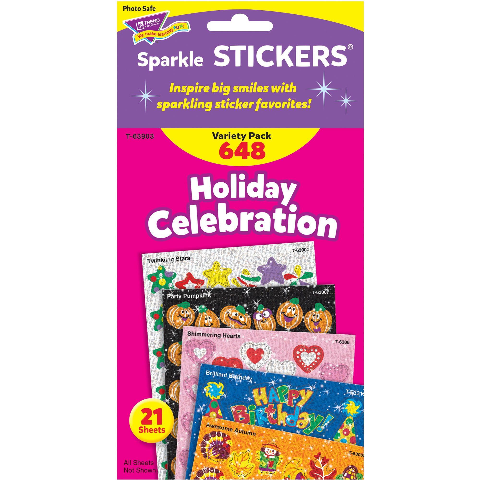 Trend, TEP63903, Holiday Celebration Little Sparkler Stickers, 648 / Pack, Multicolor