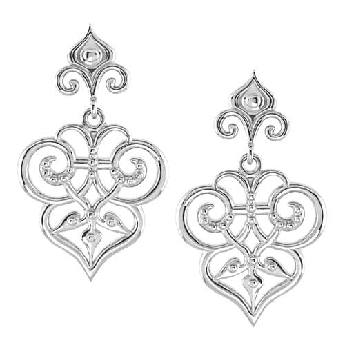 925 & 14K White Gold & Silver Glossy Filigree Dangle Earrings