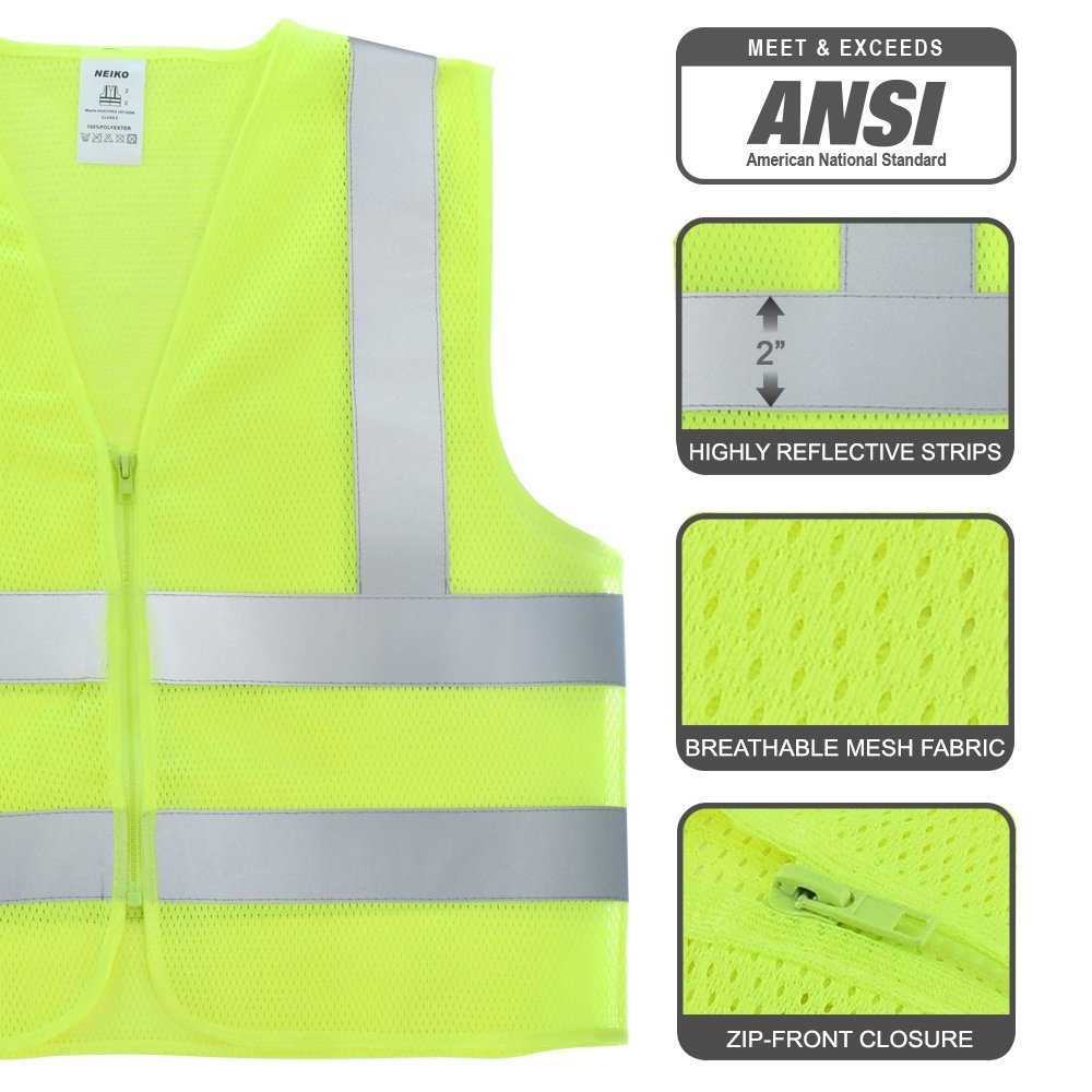 53943A Safety Vest Front Zipper, High Visibility Neon Yellow | ANSI/SEA Standard - Size XXL | 2 Pack, BE SEEN: Highly visible, neon-yellow Class 2.., By Neiko