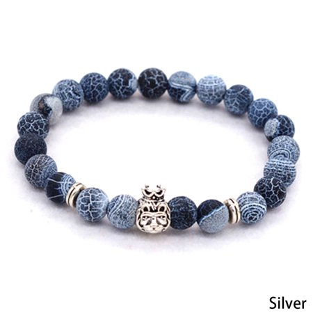 Beaded Crown (Natural Stone Beaded Lava Crown Lion Head Jewelry Beauty Unisex Bracelet Gift)