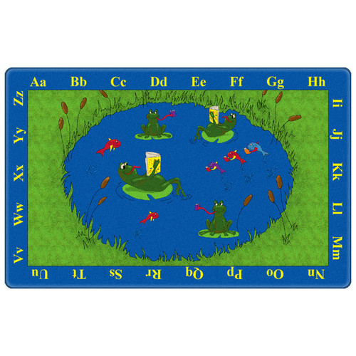 Flagship Carpets Educational Green/Blue Animal Frogs Area Rug