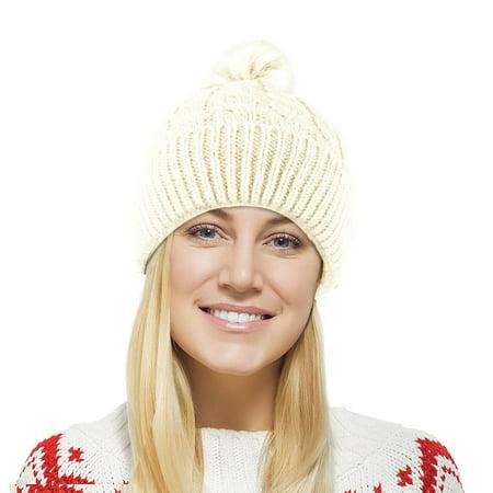 Chunky Cable Knit Beanie Hat w/ Faux Fur Pom Pom – Winter Soft Stretch Cap Hat