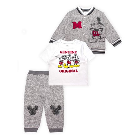 Mickey Mouse Outfit For Toddlers (Mickey Mouse Microfleece Jacket, Short Sleeve T-Shirt & Pants, 3pc Outfit Set (Baby)
