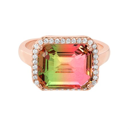 Cubic Zirconia & Watermelon Tourmaline Emerald Cut Ring in Rose Gold over Sterling Silver Cushion Cut Opal Ring