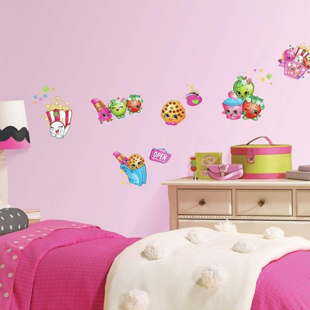 Roommates shopkins peel and stick wall decals for Peel and stick wallpaper walmart