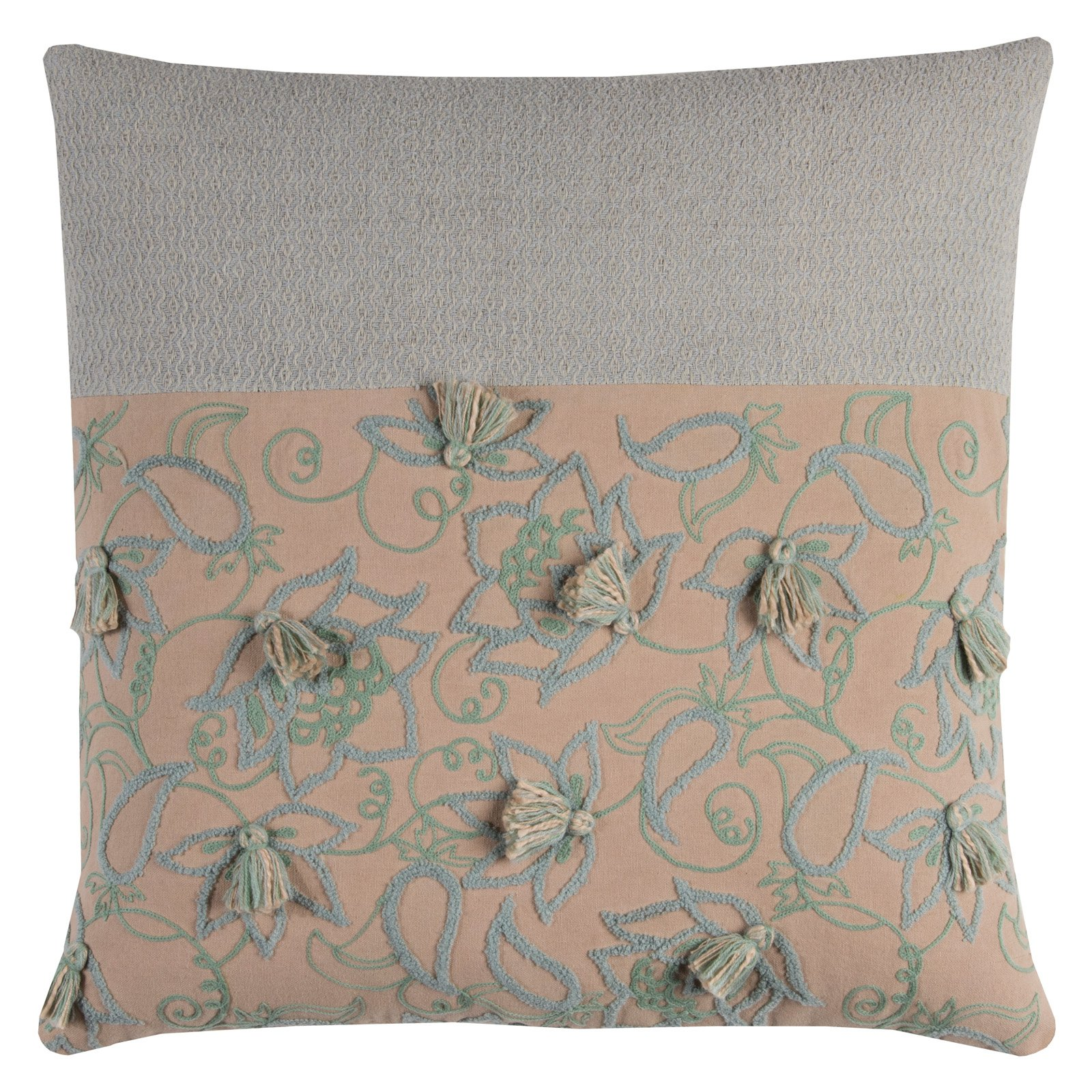 "Rizzy Home Decorative Poly Filled Throw Pillow Floral 20""X20"" Dark Blush"