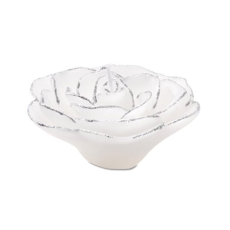 Rose Shaped White & Silver Floating Candle: 3.75 inches
