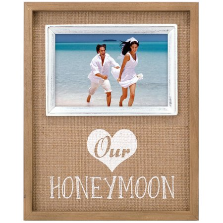 Malden Our Honeymoon Burlap Mat Picture Frame