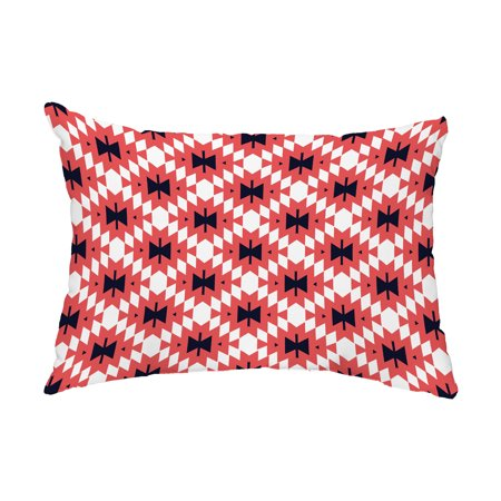 Jodhpur Kilim 2 14x20 Inch Coral Decorative Abstract Outdoor Throw Pillow
