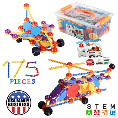 Kids Education Construction--Connecting Building Toys For Kids, 175 Piece Construction Toys For Boys And Girls Ages 3 4 5 6 7 8 9 10 Years Old Best Engineering Click Interlocking Toys - Boy Toys Age 6