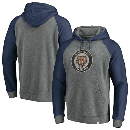Large Logo Hoody (Detroit Tigers Fanatics Branded Cooperstown Collection Large Distressed Logo Raglan Tri-Blend Pullover Hoodie - Gray )