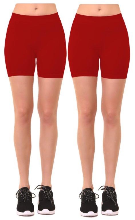 Women's 2 Pk Plus Size Seamless Stretch Yoga Exercise Shorts Bike Shorts (1X-2X)