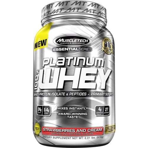 MuscleTech Essential Series Platinum 100% Whey Protein Isolate & Peptides Strawberries and Cream Dietary Supplement Powder, 2.01 lbs