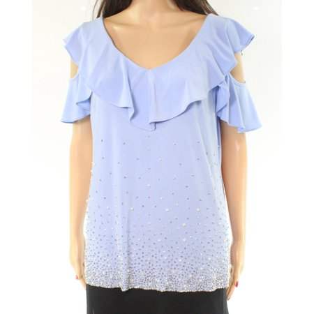 MSK Embellished Cold-Shoulder Ruffled Large Top Blouse