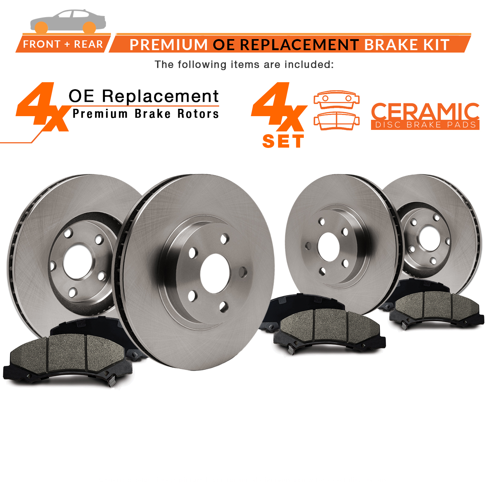 KT119042 Fits: 2007 07 Suzuki SX4 w//Rear Disc Brakes Max Brakes Rear Premium Brake Kit OE Series Rotors + Ceramic Pads