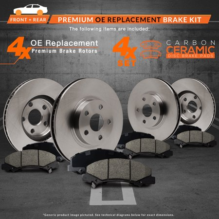 Max Brakes Front & Rear Premium Brake Kit [ OE Series Rotors + Ceramic Pads ] KT108243 | Fits: 2014 14 2015 15 Volvo S80 336mm Diameter Front Rotor With Rear Vented Rotor - image 3 de 8
