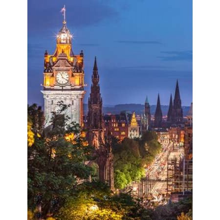 Princess Streen And The Balmoral Hotel And Night Edinbrugh Scotland Canvas Art   Assaf Frank  18 X 24