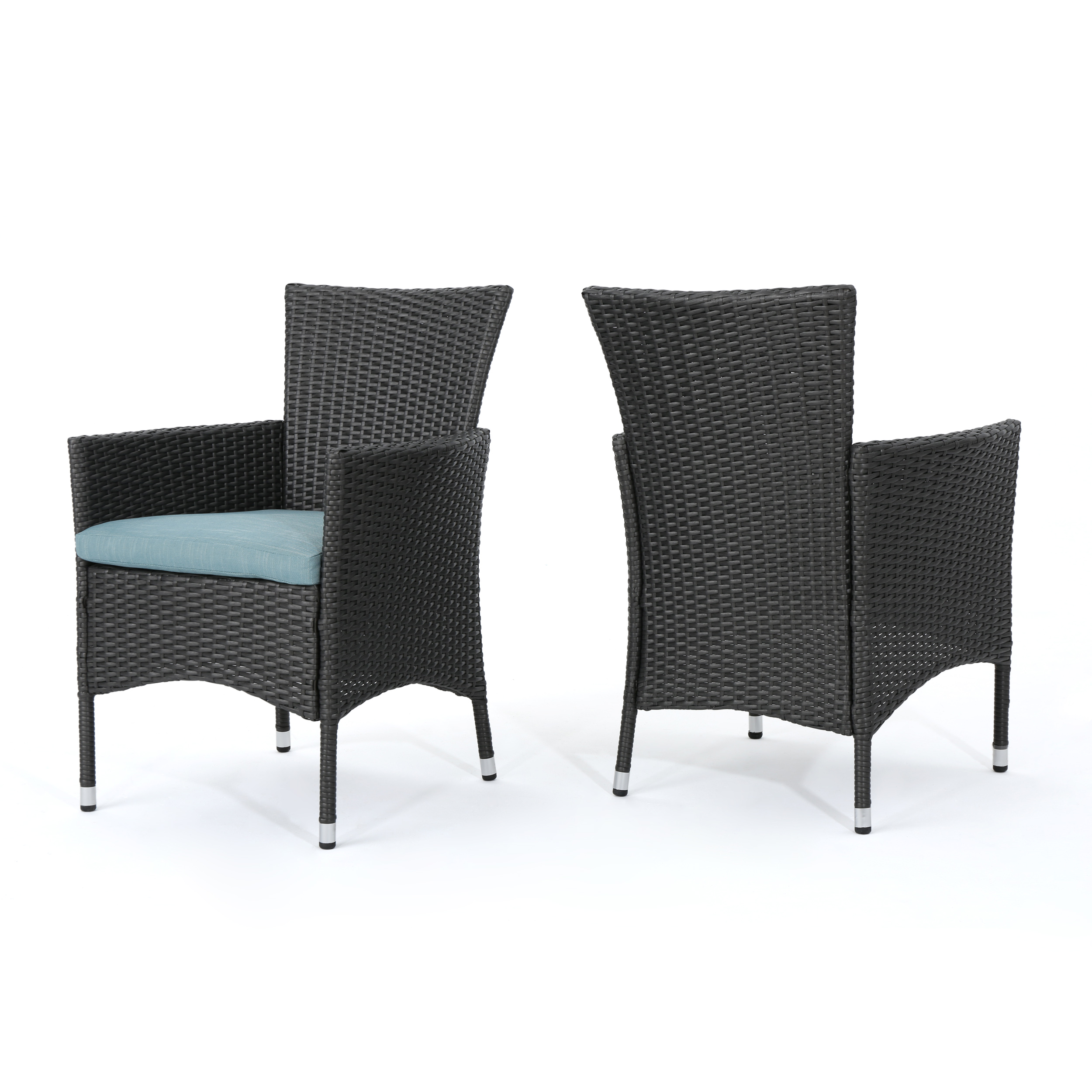 Miya Outdoor Grey Wicker Dining Chairs with Water Resistant Cushions, Set of 2, Teal
