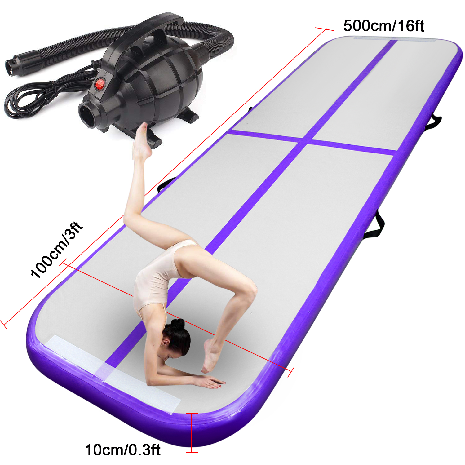 Purple 5m/16ft Inflatable Air Track Tumbling Gymnastic Mat Floor Home Training W/ Pump Fbsport