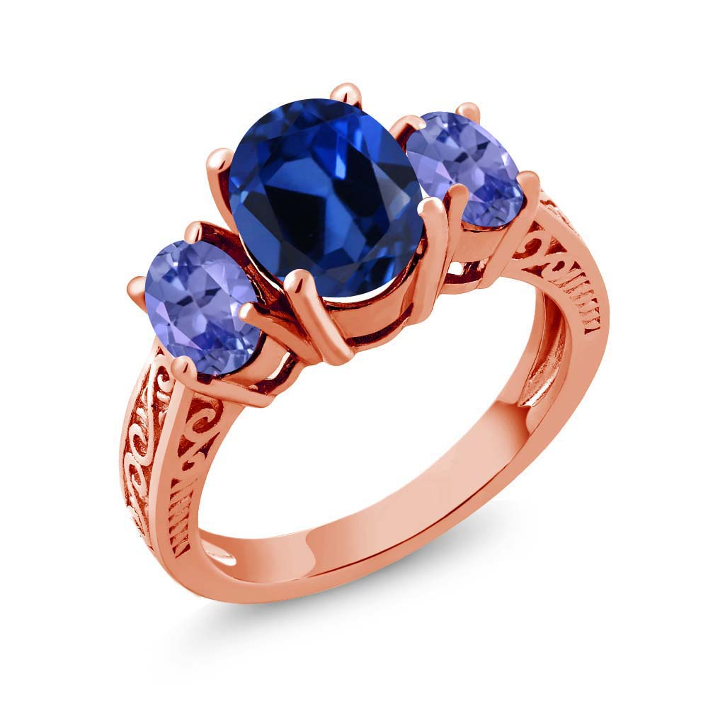 3.05 Ct Blue Simulated Sapphire Tanzanite 925 Rose Gold Plated Silver 3-Stone Ring
