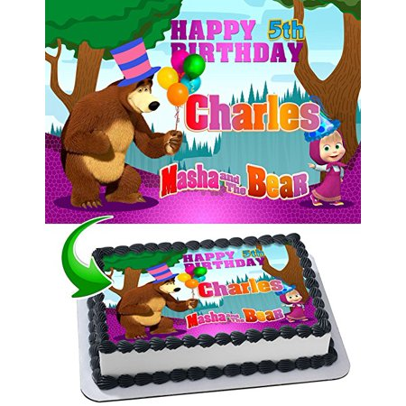 Masha & the Bear Edible Cake Topper Personalized Birthday 1/2 Size Sheet Decoration Party Birthday Sugar Frosting Transfer Fondant Image - Masha And The Bear Party Supplies