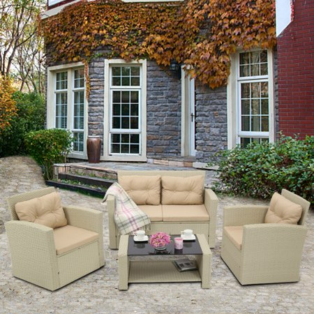 4-Piece Rattan Patio Furniture Sets Clearance, Wicker Bistro Patio Set with Glass Coffee Table, Outdoor Cushioned PE Rattan Wicker Sectional Sofa Set, Dining Table Sets for Backyard Poolside, Q12659