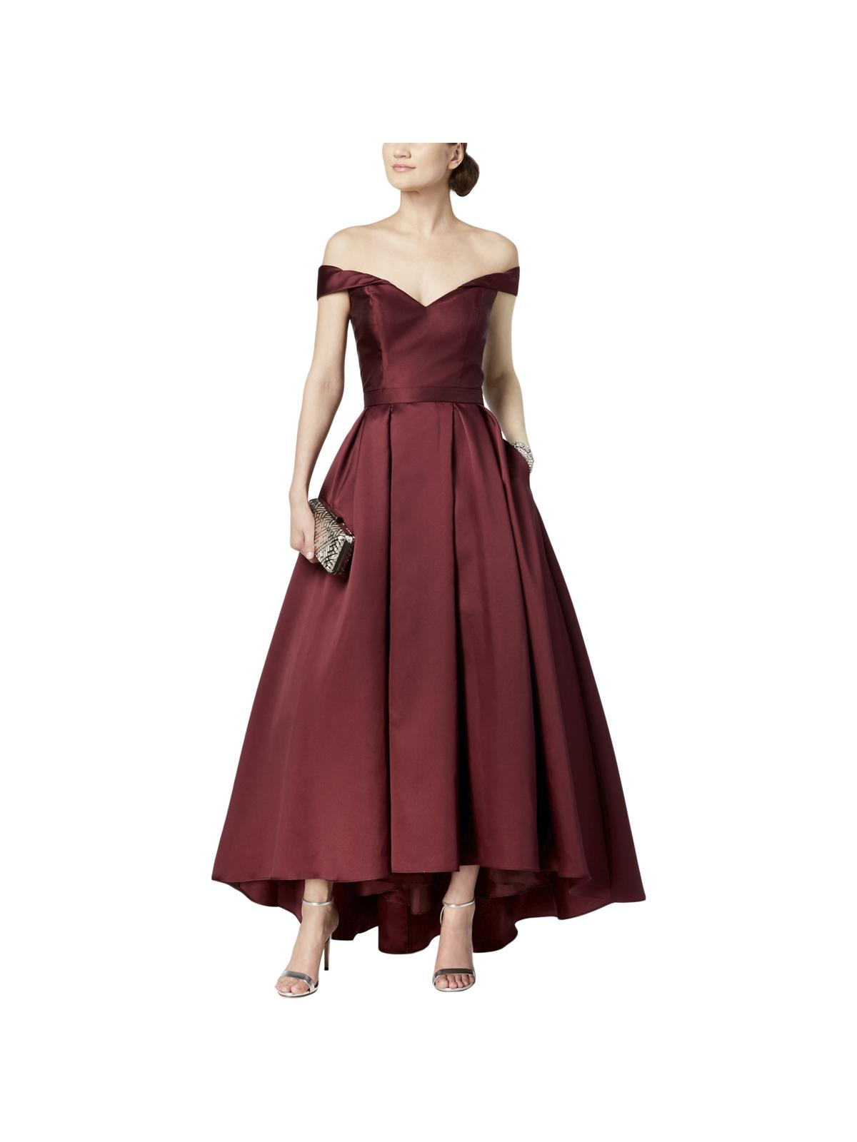 Xscape - Women's Gown Burgundy Sweetheart Off Shoulder Pleated 4 ...