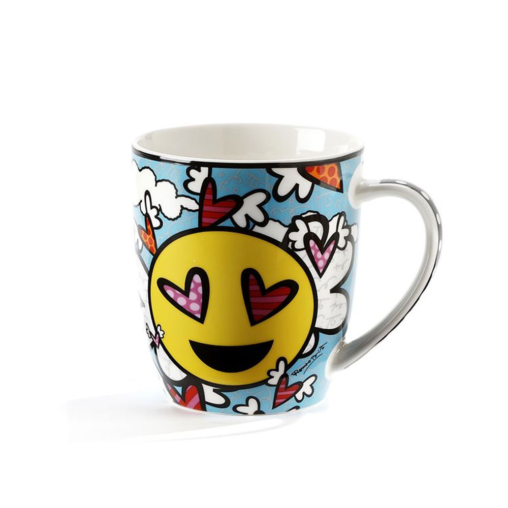 1 Romero Britto Cool Mug Emoji Design Hearts Coffee Bone China Mug Flying Heart by GiftCraft