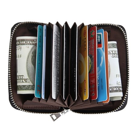 EEEkit Women Men Leather Wallet Credit Card Cashes ID Card Coins Tickets Organizers Holder RFID Blocking Zipper Pocket Money Handbags Airline Ticket Wallet