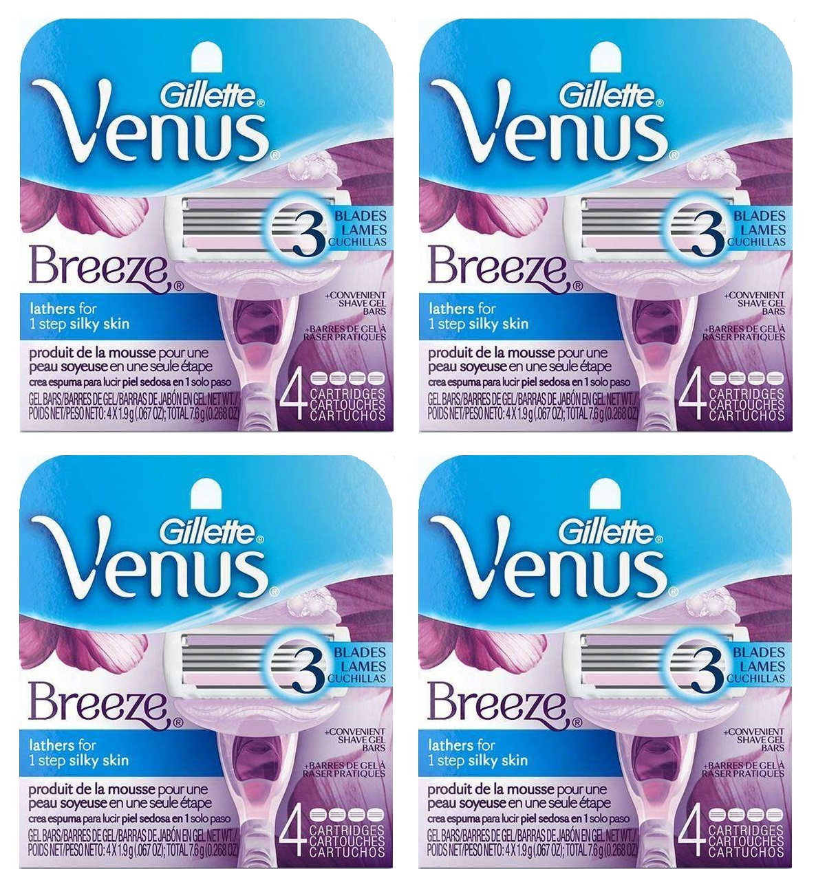 Gillette Venus Breeze Refill Razor Blade Cartridges, 4 Count (Pack of 4) + 3 Count Eyebrow Trimmer