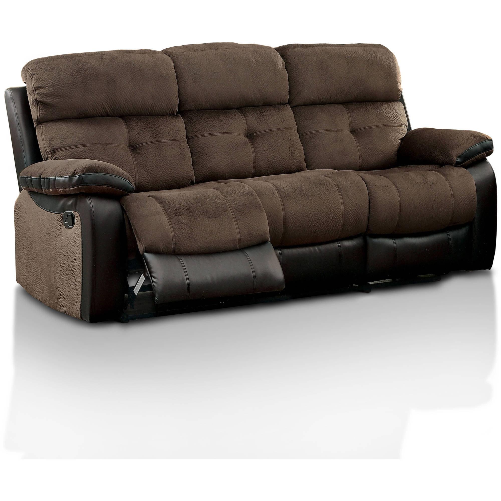 Furniture Of America Tristen Two Tone Reclining Sofa Brown Espresso