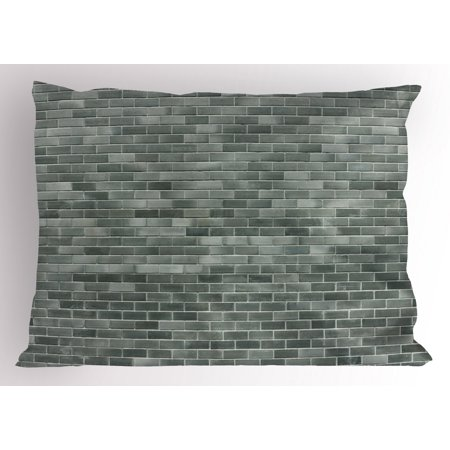 Grey and White Pillow Sham Modern Brick Wall Tiles Urban Construction Architecture Building Town Art Picture, Decorative Standard Size Printed Pillowcase, 26 X 20 Inches, Grey, by