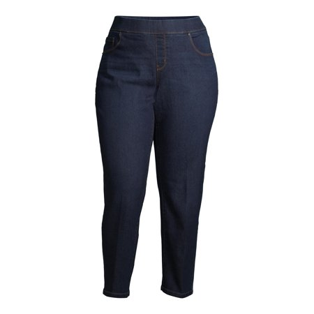 Terra & Sky Women's Plus Size Denim Pull on Straight Leg Jean