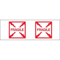 T901P21 Red / White 2 Inch x 55 yds. - Fragile (Box) Tape Logic Pre-Printed 2.2 Mil Carton Sealing Tape CASE OF 36