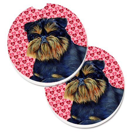 Carolines Treasures LH9163CARC Brussels Griffon Hearts Love & Valentines Day Portrait Set of 2 Cup Holder Car Coaster - image 1 of 1