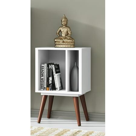 Ideaz International 23601 Small Cubby Bookcase White Satin Satin Nickel Bookshelf