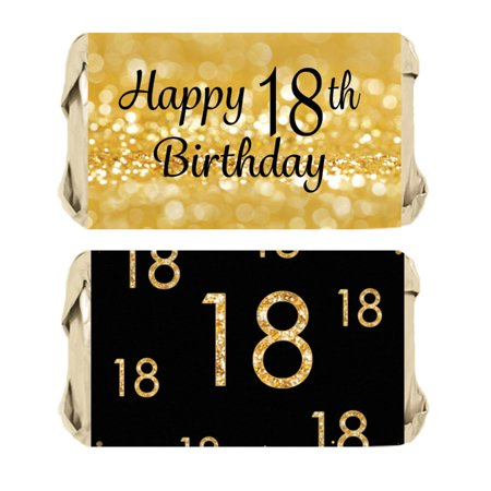 18th Birthday Candy Wrapper Stickers 54ct | Black and Gold Party Favor Decoration Labels