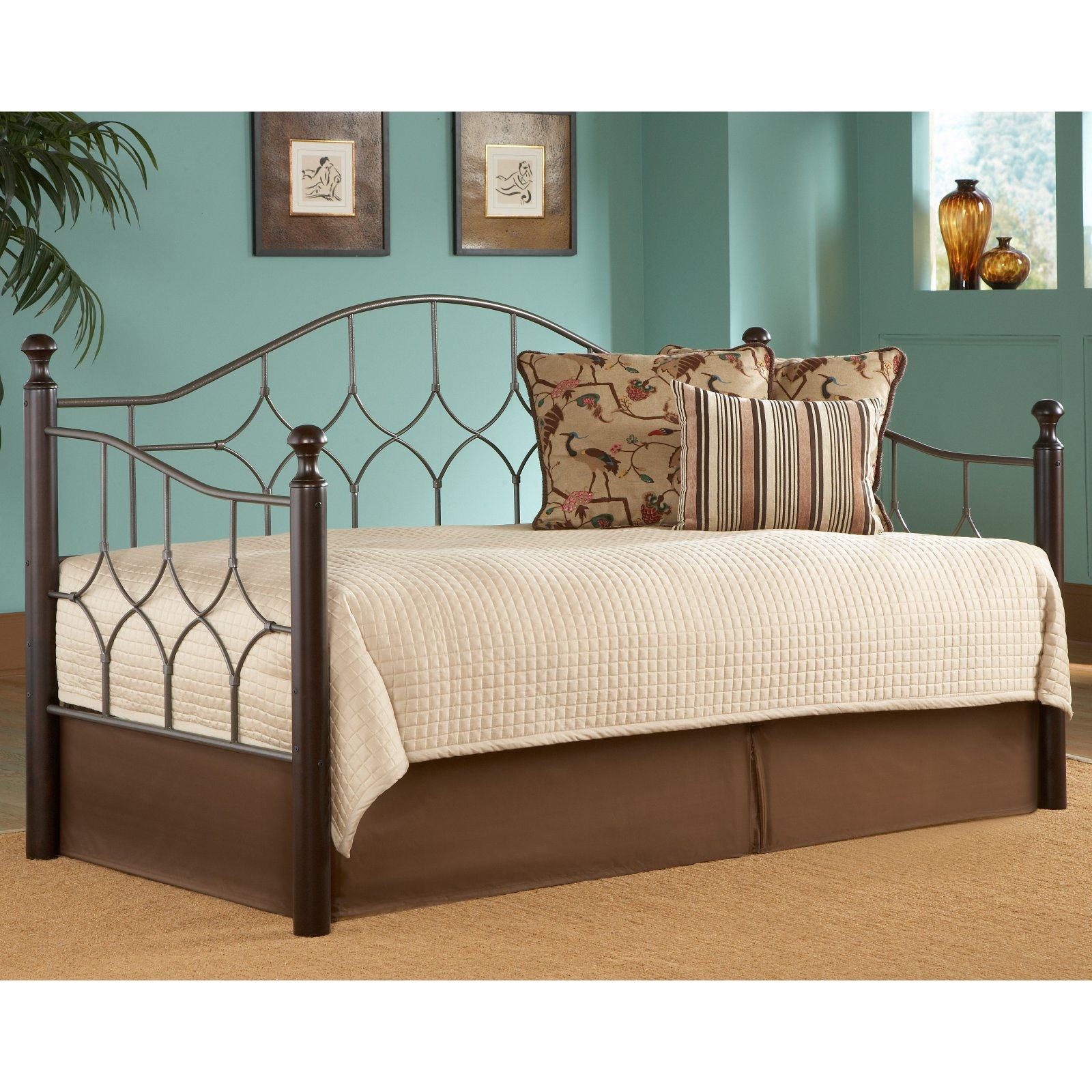 Bianca Complete Metal Day Bed with Euro Top Deck and Trundle Bed Pop-Up Frame, Hammered Pewter Finish, Twin by Fashion Bed Group